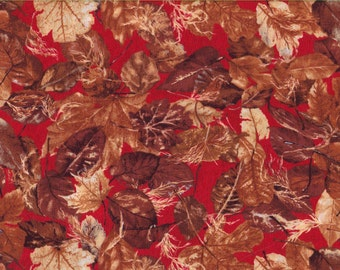 Red Fall Leaves, 100% Cotton Fabric Sold by Half Yard (23502)