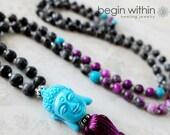 Labradorite Buddha Mala Beads / Tassel Necklace / Prayer Beads / Meditation Beads / Yoga Mala Necklace