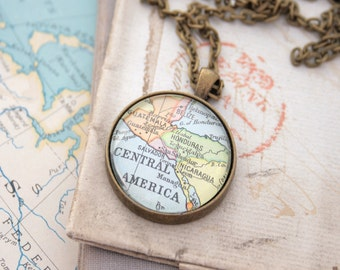Central America Necklace, Custom Jewelry Map Necklace, Gift for traveler, Unique Gifts, Map Jewelry, Pendant Necklace