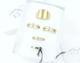 Gold Stacking Ring Set Of Nine - Stackable Rings - Midi Ring Set - Cuff Ring - Set Of Nine
