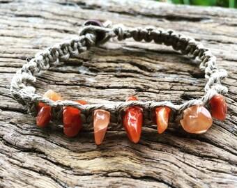 Handmade Hemp Macrame Bracelet with Red Agate Beads