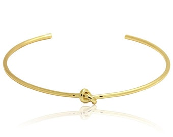 Stainless Steel Knot Choker , 18K Gold Plated