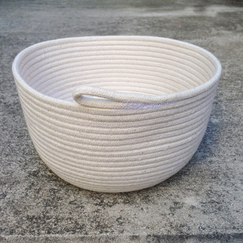 Handmade Cotton Baskets : Medium handmade cotton rope bowl nautical basket