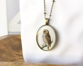 Tawny Owl. Vintage Style Long Pendant Necklace.