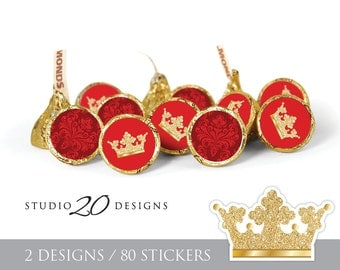 Instant Download Royal Red Hershey Kiss Stickers, Prince or Princess Baby Shower Kiss Labels, Printable Gold Royal Candy Stickers #66E