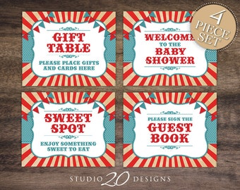 Instant Download Vintage Big Top Circus Baby Shower Signs, 8x10 Carnival Gift Table, Welcome Sign, Treat Table Sign, Guest Book Sign 84A
