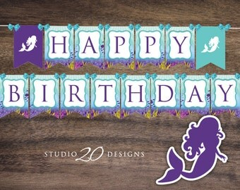 Instant Download Little Mermaid Happy Birthday Banner, Teal Purple Birthday Bunting Banner, Under the Sea Birthday Banner for Girl 70A