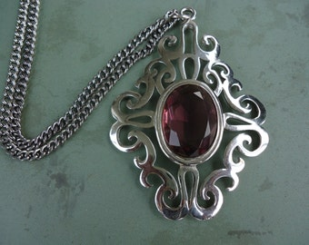 Amethyst Stone Medallion Necklace