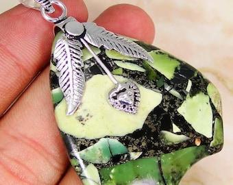 Beautiful pictire jasper 925 silver pendant and chain