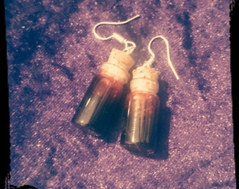 Bottle of blood earrings