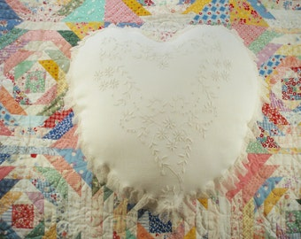 Heart Shaped Shabby Chic Pillow Vintage White on White Embroidery Boudoir Pillow Cottage Chic
