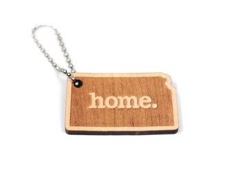 Kansas Key Charm by Home State Apparel: Laser Engraved Wood Keychain, KS