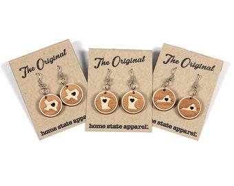 Big Circle Heart-Cut Dangle Earrings by Home State Apparel