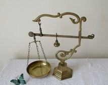 Large Beautifully Ornate, Antique French, Balance, Scales, finished in Brass on Brass Base Stand with exceptional detail.
