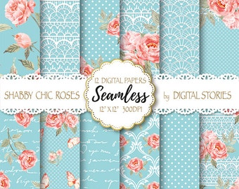 "Shabby Chic Digital Paper ""SHABBY LACE TURCUOISE"" Floral Seamless, Tileable Background with watercolor roses  for scrapbooking, invitations"