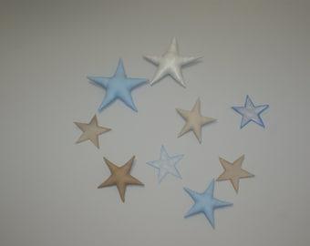 Fabric Stars. Linen Fabric Stars. Vintige Stars. Eco Friendly Nursery decor. Vintige Room Decor