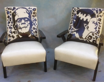 Frankenstein and Bride of Frankenstein recliner chair set, , hand painted,yellow faux leather, sold as a matching set only..!! one price