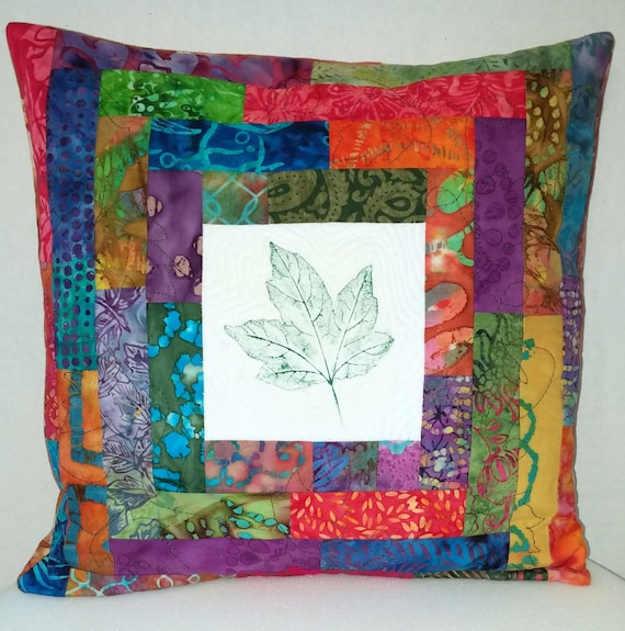Decorative Quilted Pillow Covers : Quilted pillow cover Decorative Pillowcase with hand printed