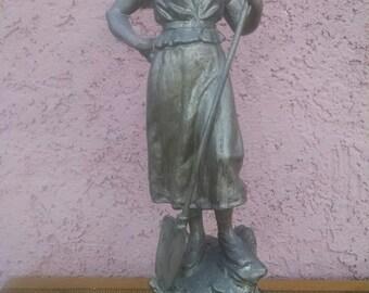 Antique 1800's Victorian Era French Pot Metal Statue La Trieuse Field Woman with Shovel