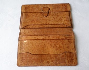 Vintage Tan Light Brown Calf leather wallet Bi fold