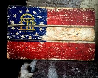 Georgia State Flag Distressed Barn Wood Art