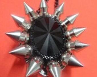 Black Gem and Spikes Pendant