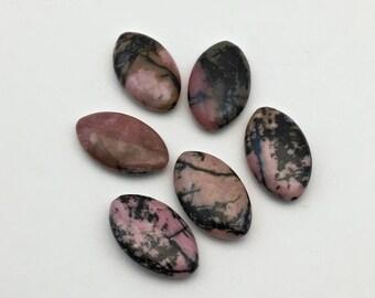 6 rhodonite stone beads/ 12mm x 20mm #PP021