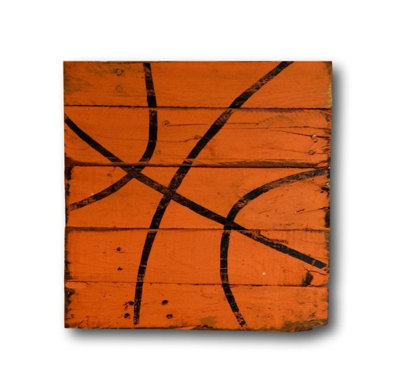 Basketball pallet sign sports decor rustic vintage for Vintage basketball wall art
