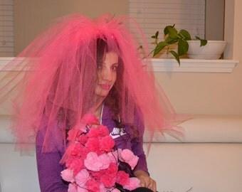 Bachelorette Veil, pink Bachelorette Veil, Bridal Shower Veil, Cute Veil, Pink Veil (All colors available)