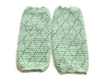 Mint crochet baby leg warmer, baby legging, cotton thread leg warmer, baby legging,