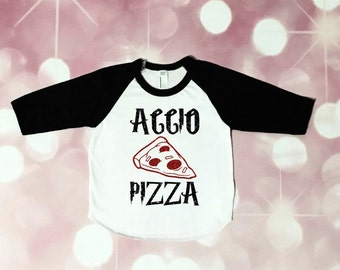 Accio Pizza Raglan, baby girl, toddler girl, geeky, harry potter inspired, wizard, girly, pizza shirt, mama geek, wizarding world, glitter