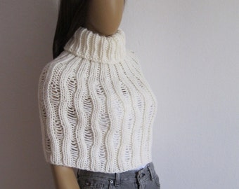 Turtleneck Poncho, Crop Sweater, Cape, Capelet, Poncho, Neck Warmer, Cover Up