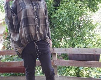 Extravagant Hooded Tunic Pocket Sweatshirt  Chequered Tunic Cotton Top & Nara SU004
