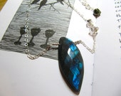 Boudica: stunning faceted labradorite and herkimer diamond necklace, with a wee pyrite skull