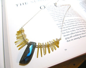 The Wilds: micro iron-oxide quartz point, sterling silver, and faceted labradorite necklace
