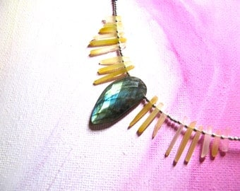 Huntress: faceted labradorite, onyx, and micro-iron oxide point necklace