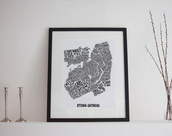 Ottawa-Gatineau Neighborhoods Typographic City Map Poster - Ottawa Art