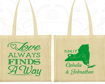 Love Always find a way, Custom Large Tote Bags, State to State Bags, State Bags, Destination Bags, Wedding Party Totes (472)