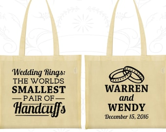 Wedding Rings, The Worlds Smallest Pair of Handcuffs, Imprinted Canvas Bags, Handcuffs, Wedding Rings, Welcome Wedding Bags (504)