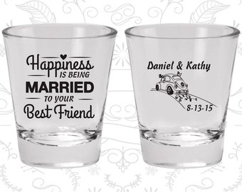 Happiness is Being Married to your Best Friend, Shot Glass, Vintage Wedding Shot Glasses, Vintage Car, Wedding Shot Glasses (510)
