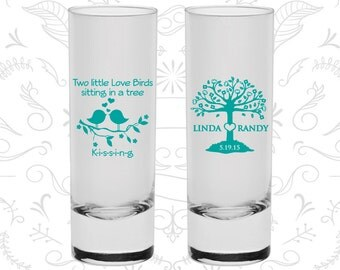 Two little love birds sitting in a tree Kissing (C249) Wedding Favor Shooter Glasses, Love Tree, Love Birds Wedding Shooters, Custom Shooter