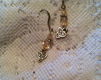 Light rose and sterling silver pierced earrings with Celtic triad charms.