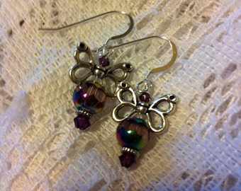Amethyst and silver unique butterfly earrings.