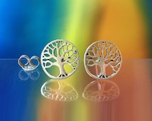 925 Solid Sterling Silver TREE OF LIFE Earrings- Small- Oxidized- Studs