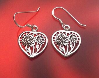 925 Solid Sterling Silver HEART WITH SUNFLOWER Earrings-Oxidized-Sunflower in Heart Earrings-Dangle