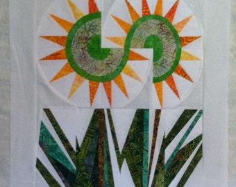 Mini sunflower paper pieced patchwork quilt top
