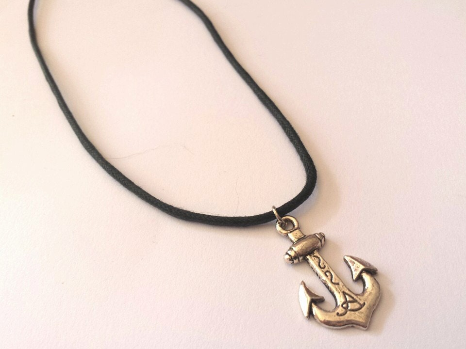 Anchor Necklace With Thick Black Cord X By WillowCraftsx