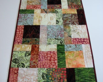 Quilted Table Runner , Autumn Batik Patchwork