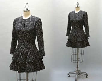 80s Polka Dot Minidress - Vintage Eighties Black and White Cotton Print Mini Dress With Two Tiered Ruffled Skirt Drop Waist Cute Dress
