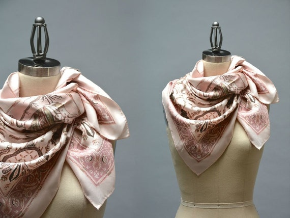Jim thompson silk scarf vintage pink silk twill scarf thai for Thai silk jim thompson